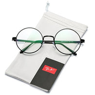 Pro Acme Retro Round Metal Frame Clear Lens Glasses Non-Prescription(Black Frame/Clear Lens)