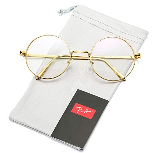 Retro Round Metal Frame Clear Lens Glasses Non-Prescription(Gold Frame/Clear Lens)