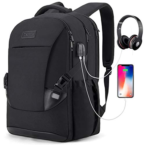 Travel Laptop Backpack Waterproof Business Work School College Bag Daypack with USB Charging&Headphone Port