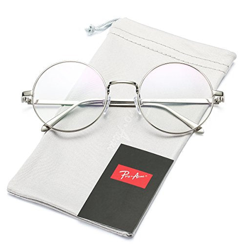 Vintage Retro Round Metal Frame Clear Lens Glasses Non-Prescription(Silver Frame/Clear Lens)