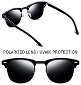 Semi Rimless Polarized Sunglasses Women Men Retro Brand Sun Glasses (All Black)