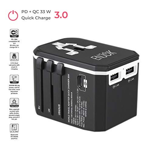 Universal Travel Power Wall Charger Adapter for USA EU UK - Worldwide AC Wall Plug