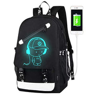 Luminous Backpack for Boys, 15.6'' Laptop Backpack with USB Charging Port, Bookbag for School with Anti-Theft Lock, Black Travel Backpack Cool Back Pack for Work