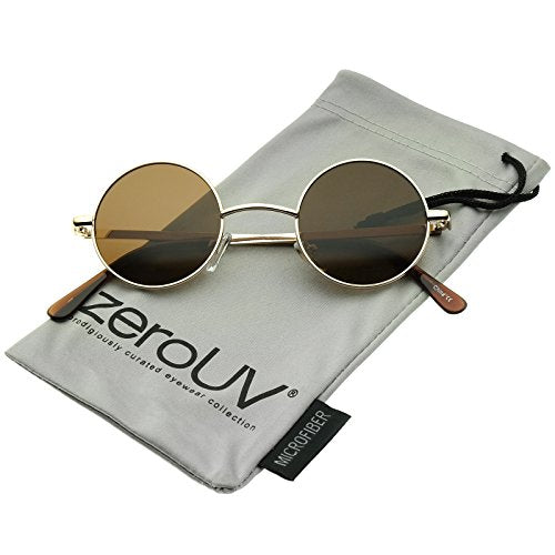 Small Retro Lennon Inspired Style Neutral-Colored Lens Round Metal Sunglasses 41mm (Gold/Brown)