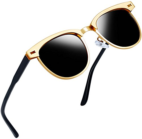 Semi Rimless Polarized Sunglasses Women Men Retro Brand Sun Glasses (Gold Metal Frame)