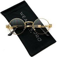Metal Steampunk Frame Retro Round Clear Lens Glasses Gold