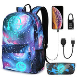 Galaxy Backpack for School, Anime Luminous Backpack College Bookbag Anti-Theft Laptop Backpack with USB Charging Port, Sky Blue, Galaxy Backpack