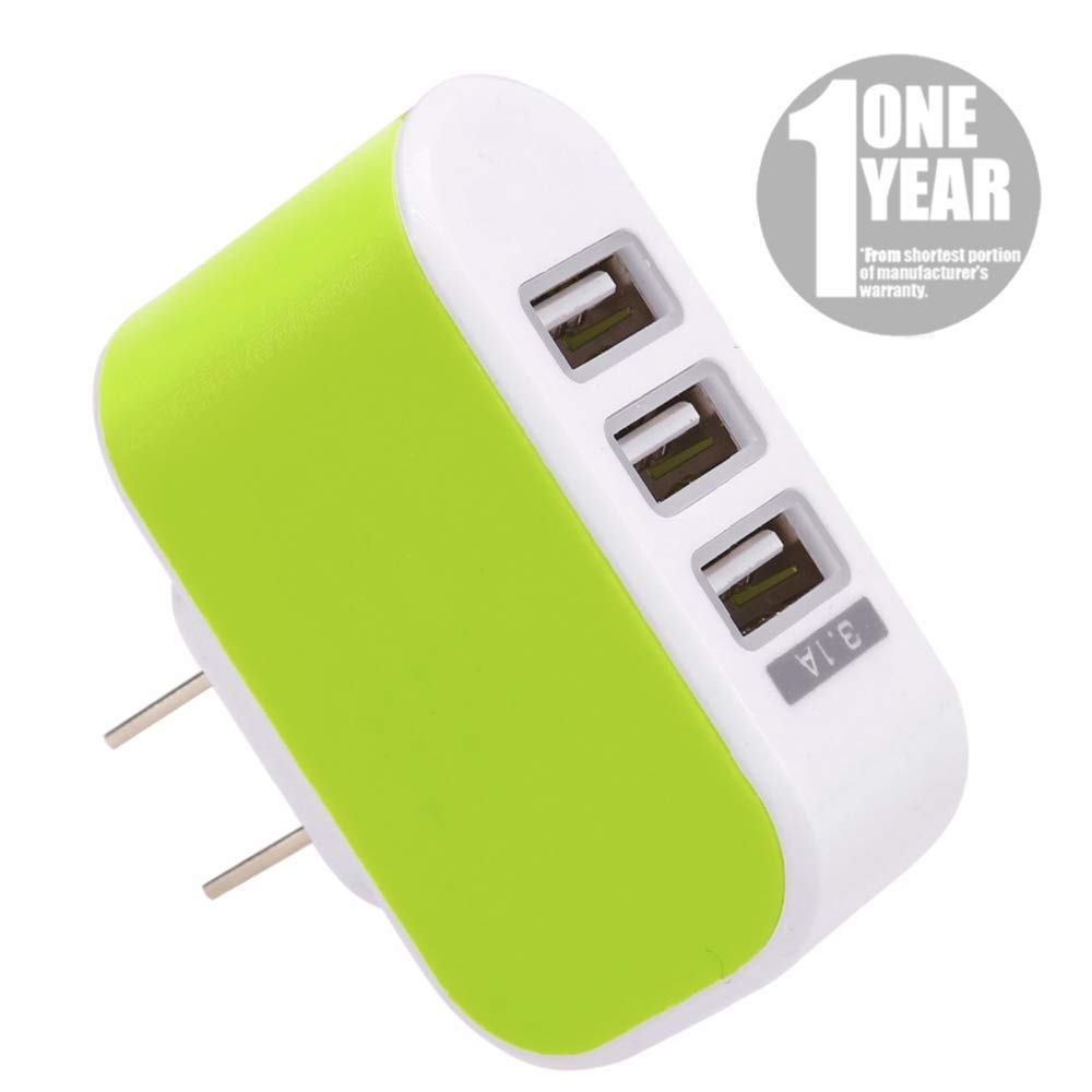 USB Wall Charger, 3.1A 3-Port USB Power Adapter Travel Block for Phone US Plug - Green