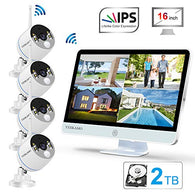 Long Range Wireless Outdoor Home Security Camera System with 16inch 1080p IPS Monitor 2TB Hard Drive [Floodlight & Audio]4 Spotlight IP Cameras WiFi 8 Channel Surveillance DVR Kits 2 Way Audio