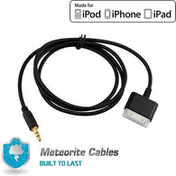 30pin Male to Audio (3.5mm) Adapter Cable For Apple iPhone/iPad/iPod Black
