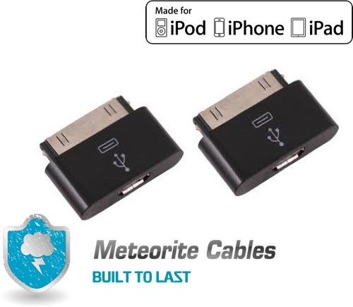 2X Micro USB Female to 30pin Male Charger Adapter For iPad/iPod/iPhone 4 S BLK