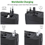 Universal Travel Adapter Wall Charger AC Power Plug Adapter with Dual USB Charging Ports for USA EU UK AUS, White