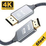 6 Ft 4K UHD Nylon Braided Gold-Plated DP-to-HDMI Unidirectional Cord