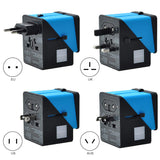Universal Travel Adapter Songway Travel Power Adapter 3 USB Ports & Type-C Power Adapter Converter for More Than 160 Countries (Blue)