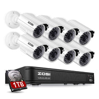 8-Channel HD-TVI 1080P Lite Video Security Camera System,Surveillance DVR and (8) 1.0MP 1280TVL Indoor/Outdoor Weatherproof Bullet Cameras with 65ft(20m) IR Night Vision LEDs- 1TB HDD Built-In