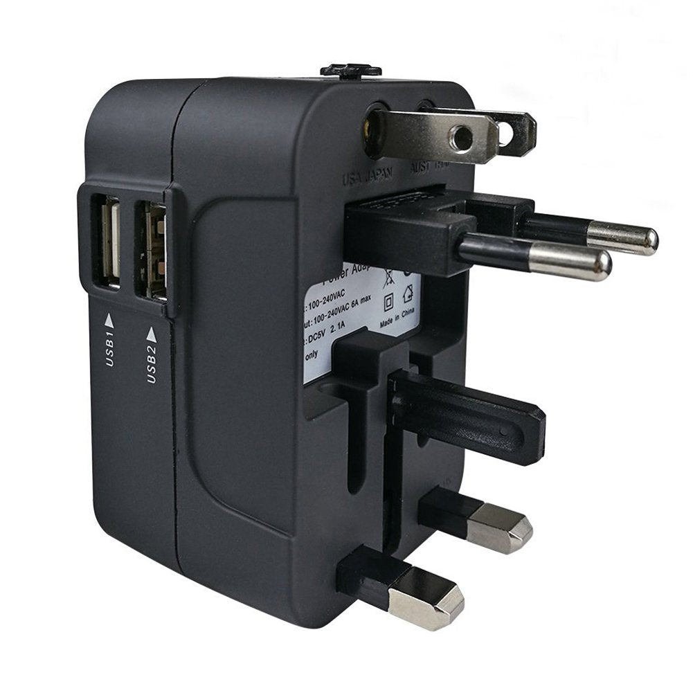 Universal International Power Converter Adapter USB Wall Charger AC Plug for USA EU UK AU (Black)