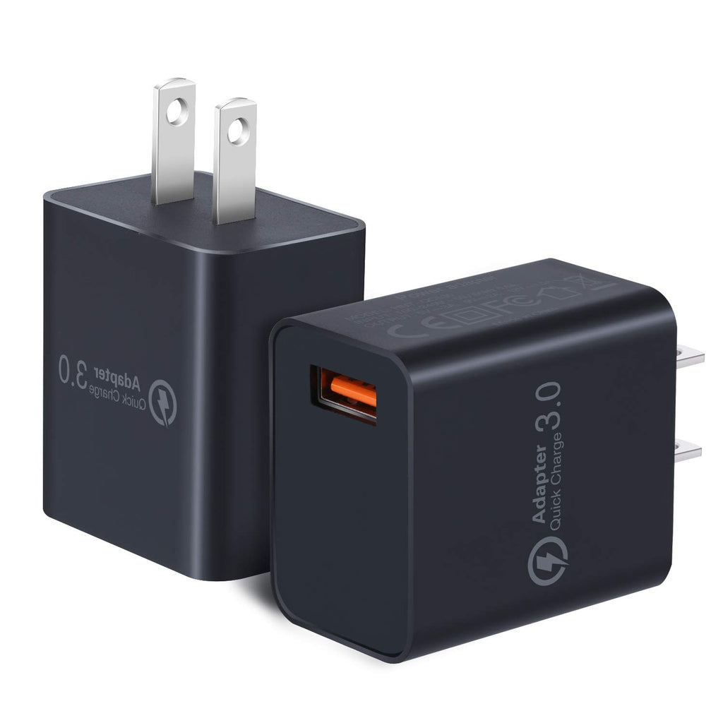 2 Pack 18W Fast Charging USB Power Adapter with Wall Plug  (Black Black)