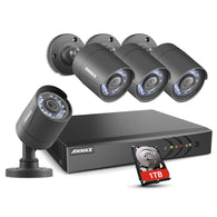 8CH Security Camera System HD-TVI H.264+ Surveillance DVR Recorder with 4×1080P HD Indoor Outdoor Weatherproof CCTV Cameras, 1TB Hard Drive, Motion Alert, Remote Access