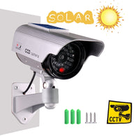 Solar Powered Dummy Surveillance Bullet Fake Camera with Flashing Led-Grey Battery Recharged by Sun, Home or Business, Silver