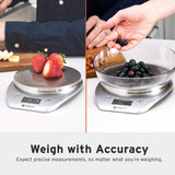 Digital Food Scale Kitchen Multifunction Weight Scale with Removable Bowl, 11 lb 5kg (AAA Battery) (Silver)