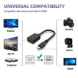 Micro HDMI to HDMI Adapter Cable, Micro HDMI to HDMI Cable (Male to Female) Black