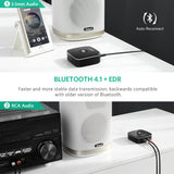 Bluetooth Receiver 4.1 Wireless Auido Music RCA Adapter for Home Car Music Streaming Sound with 3.5mm and 2RCA