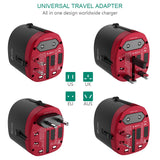International Power Adapter AC Plug All in one Worldwide Wall Charger with Dual USB Charging Ports for USA EU UK AU with Carrying Case (Red)