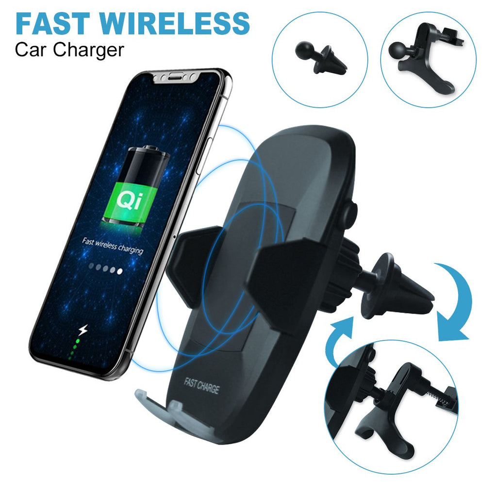 Wireless Qi Fast Charger Car Mount 10w Air Vent 360° Rotation Charging Station