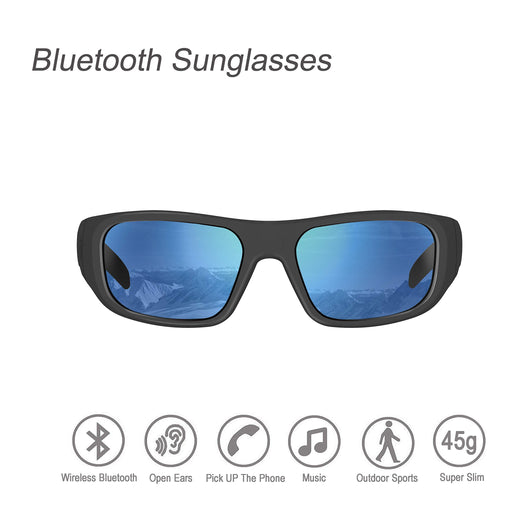 Bluetooth Sunglasses,Ear-Free Stealth Design Sunglasses Headset with Polarized UV400 Protection Safety Lenses for Outdoor Sports Compatible for All Editions of Smart Phone (Unisex)