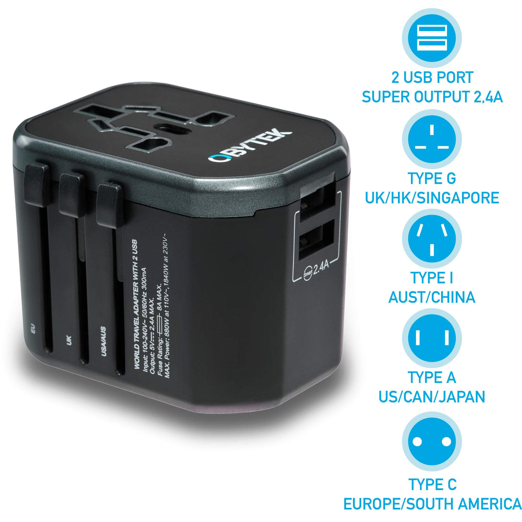 Portable Universal Travel Power Adapter Plug  - Works in US/UK/EU/AU