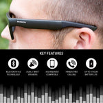 Wireless Bluetooth Sunglasses, Open Ear Music & Hands-Free Calling, for Men & Women, Polarized Lenses, Compatible with iPhone/Android (Black/Grey Tint)