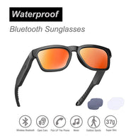 Wireless Bluetooth Sunglasses, Open Ear Music & Hands-Free Calling, for Men & Women, Polarized Lenses, Compatible with iPhone/Android (Black/Red Tint)