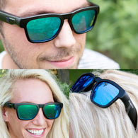 Wireless Bluetooth Sunglasses, Open Ear Music & Hands-Free Calling, for Men & Women, Polarized Lenses, Compatible with iPhone/Android (Black/Blue Tint)