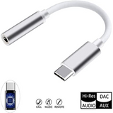 "USB-C Type C to 3.5mm 1/8"" Aux Audio Jack Active DAC Headphone Adapter Cable Grey"
