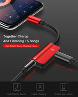 Type C to 3.5 mm and Charger Headphone 2 in 1 Audio Jack USB C Cable Adapter Red