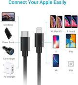 Lightning to USB-C Cable for Apple iPhone/iPad/iPod to USB3.1 Type-C Charge/Sync Black