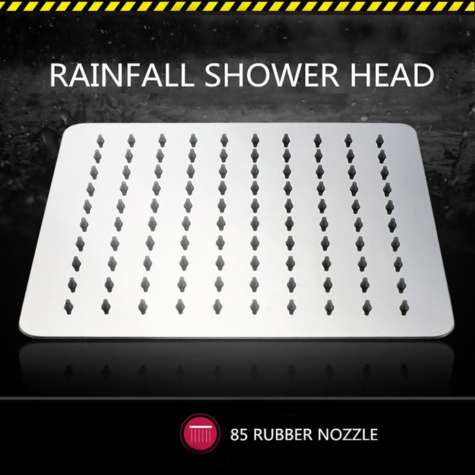 Artbath 8-Inch Square Rainfall Shower Head Water Saving Powerful Ultra Thin 304 Stainless Steel Rain Shower Head Wall Mount with Adjustable Swivel 1/2 Metal Ball Joint,Silver