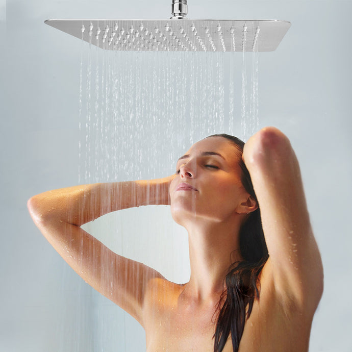 Artbath 12 Inch Large Square Rainfall Shower Head Celling Mount Rain Showerhead Ultra Thin Stainless Steel Easy Clean Top Spary Adjustable Shower with Swivel 1/2 Ball Joint Chrome Fnished