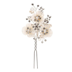 Sarah Satin Floral Crystal Hair Pin