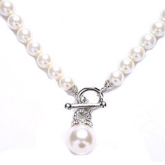 Kathryn Crystal & Glass Pearl Toggle Necklace