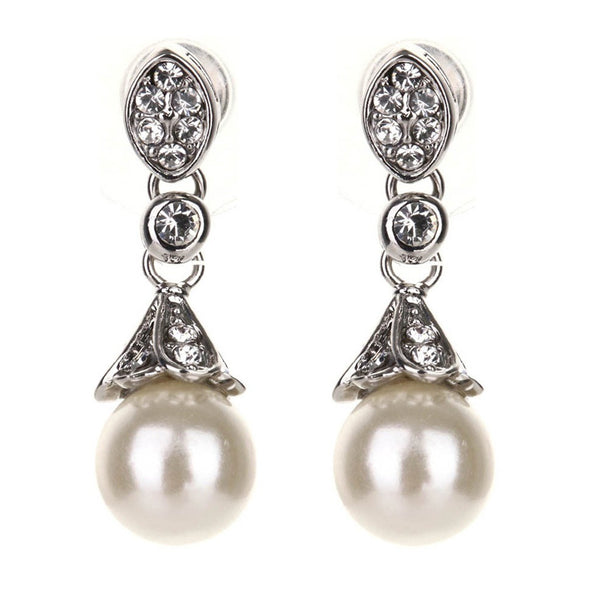 Morgan Elegant Pearl & Swarovski Earrings - Bella Krystal