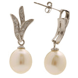 Kimberly Fresh Water Pearl Leaf Drop Earrings - Bella Krystal