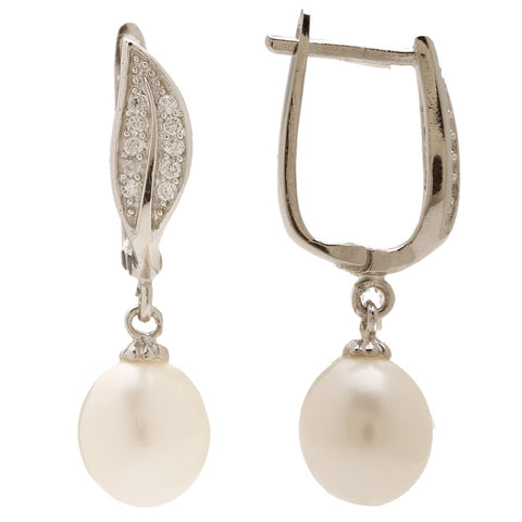 Maya Fresh Water Pearl Leaf Clasp Earrings - Bella Krystal