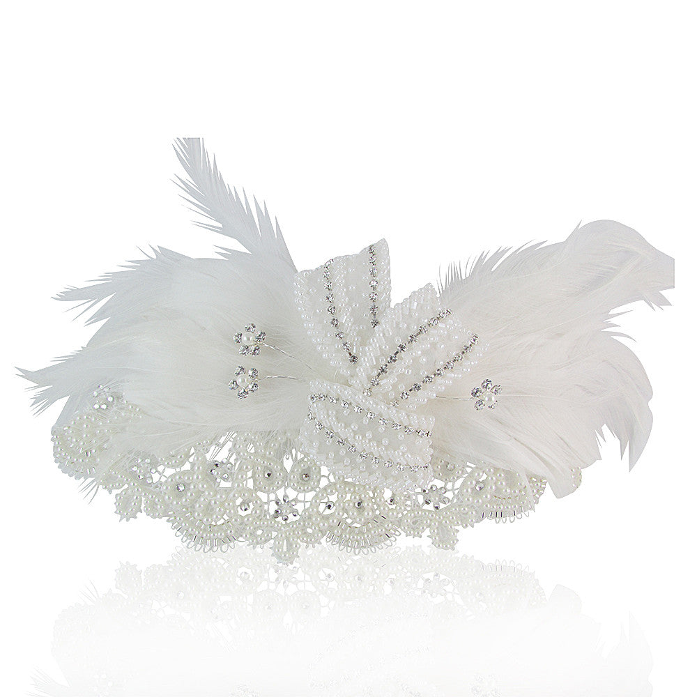 Kennedy Pearl, Crystal & Feather Bridal Hair Comb - Bella Krystal