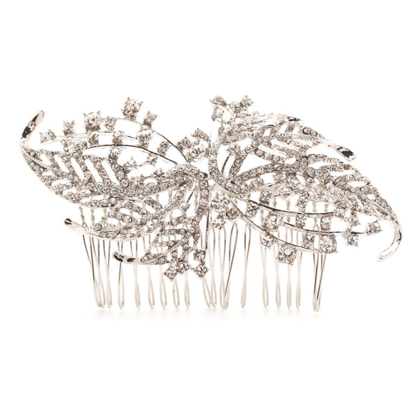 Julia Swarovski Leaf Bridal Hair Comb - Bella Krystal