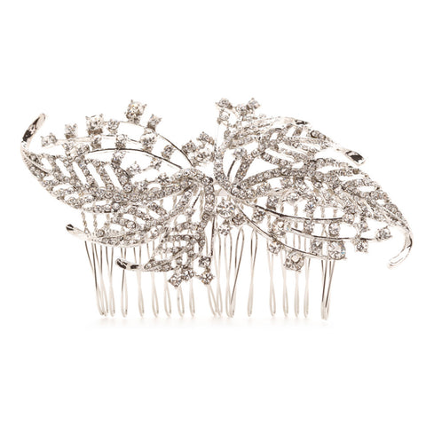Julia Crystal Leaf Bridal Hair Comb - Bella Krystal