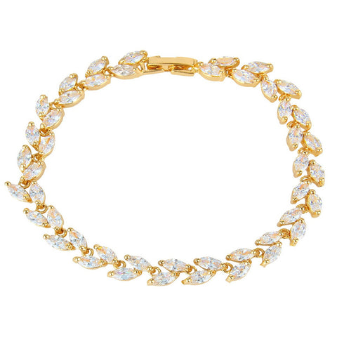 Ellie Crystal Leaf Gold Bracelet - Bella Krystal