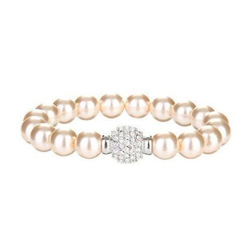 Ella Glass Pearl Bracelet with Crystal Ball - Bella Krystal