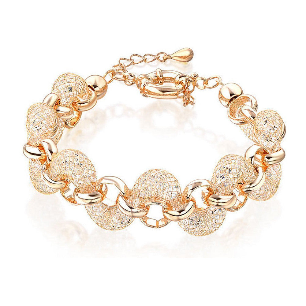 Teigan Crystal Filled Mesh Gold Bracelet - Bella Krystal