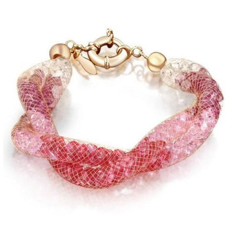 Allie Blush Crystal Filled Twist Mesh Bracelet - Bella Krystal